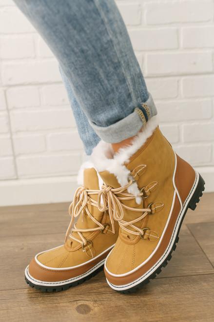 MIA Misha Faux Fur Lined Lace-Up Boots - Chamois