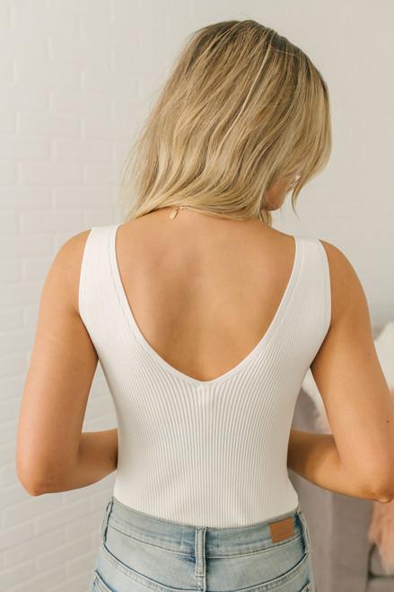 Into the City V-Neck Ribbed Bodysuit - Ivory