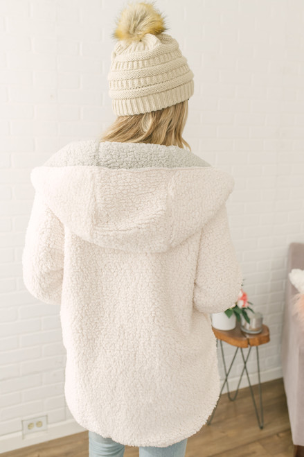 Give Me Cozy Reversible Hooded Teddy Jacket - Cream/Grey