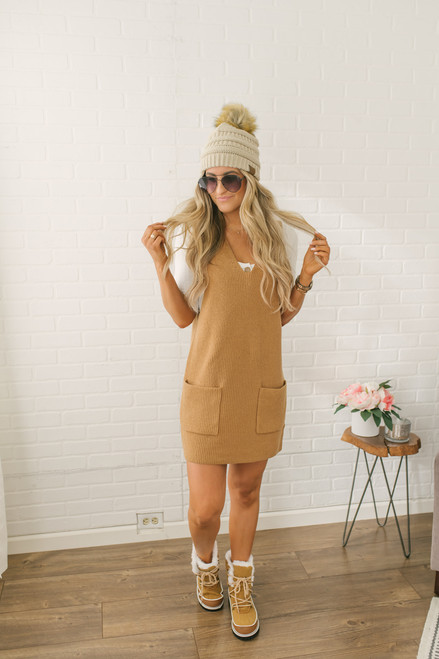 Perfectly Posh V-Neck Pocketed Front Shift Dress - Camel