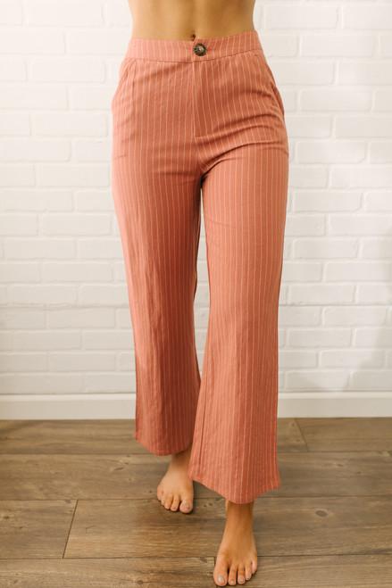 Sugar & Striped High Waist Cropped Wide-Leg Pants - Rust