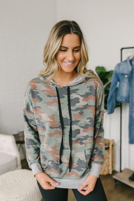 Destination Cozy Camo Hoodie - Brown Multi - FINAL SALE