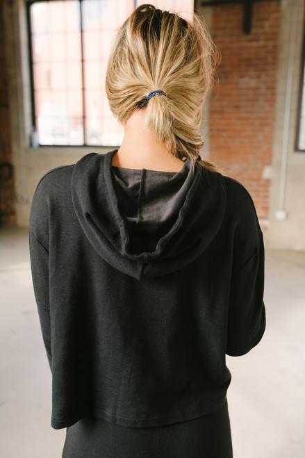 Boxy Hoodie Sweatshirt - Black- FINAL SALE