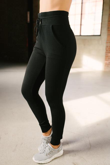 High Waist Slim Joggers - Black