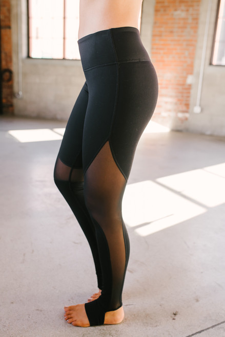 Mesh Detail Stirrup Leggings - Black - FINAL SALE