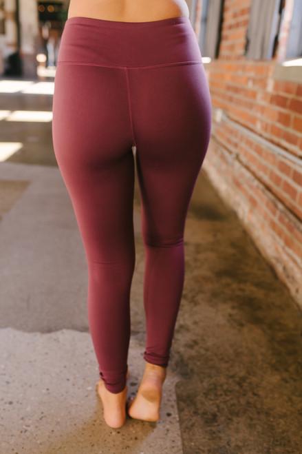 Colorblock Mesh Leggings - Burgundy - FINAL SALE