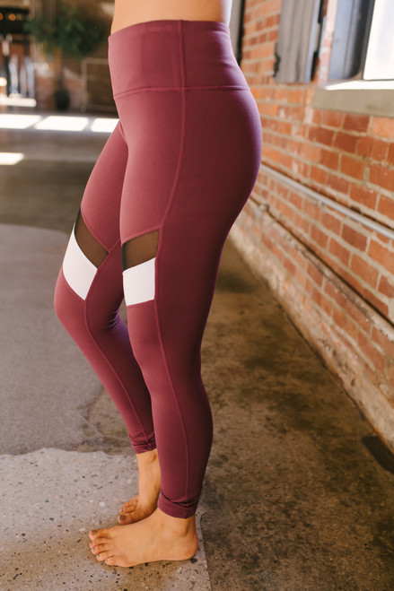 Colorblock Mesh Leggings - Burgundy