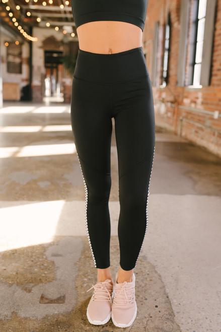 High Waist Contrast Trim Leggings - Black - FINAL SALE