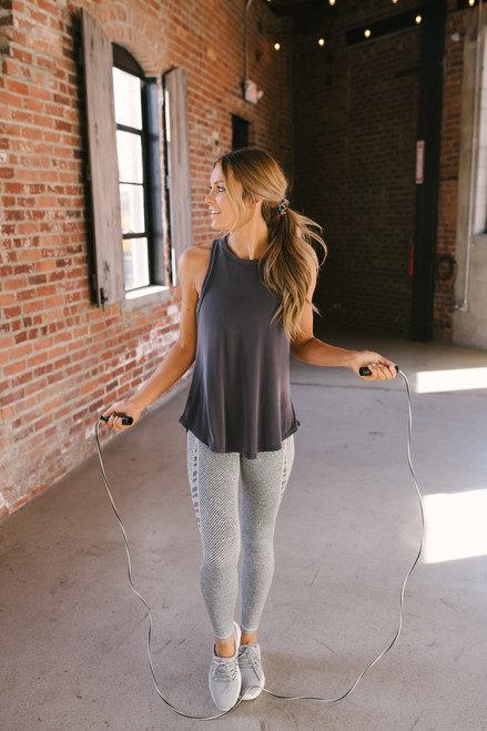 Ribbed Fitted High Neck Tank Top - Charcoal