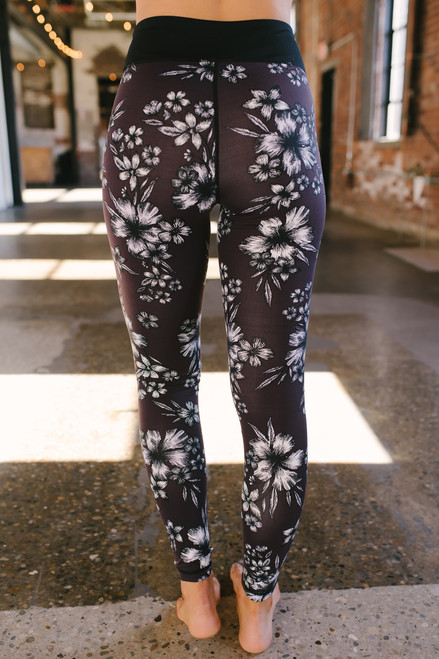 Hibiscus Print Mesh Detail Leggings - Plum Print - FINAL SALE