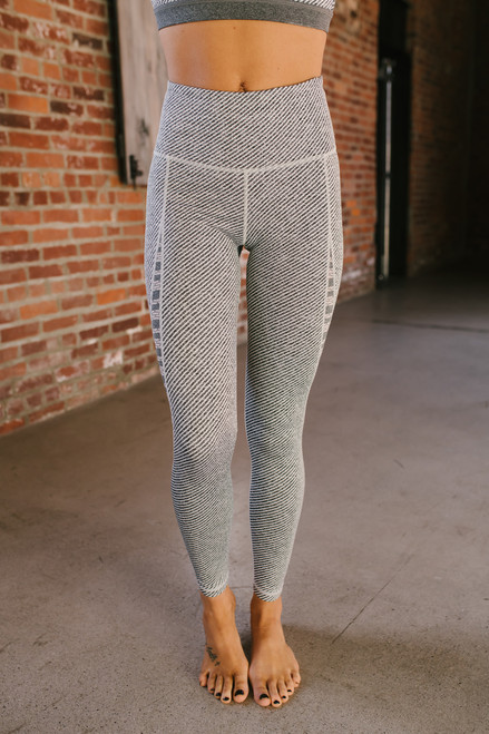 High Waist Multi Stripe Mesh Detail Leggings - Grey - FINAL SALE