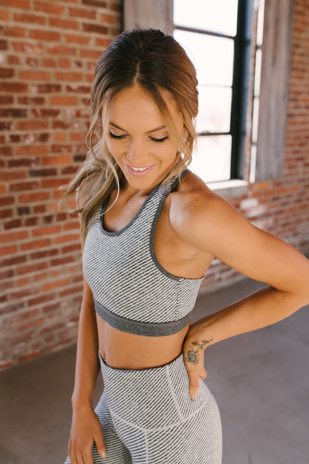 Multi Stripe Mesh Detail Sports Bra - Grey