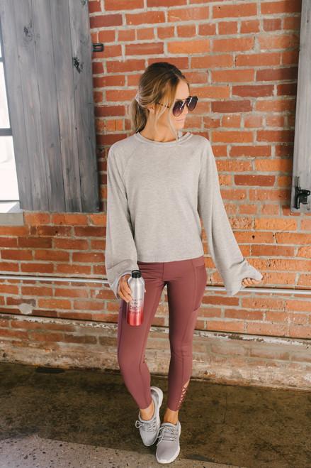 Open Back Adjustable Raglan Sweater - Heather Grey