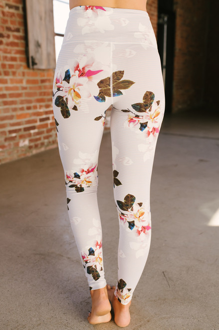 High Waist Romantic Floral Print Leggings - Floral Multi - FINAL SALE