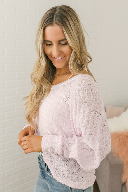 Free People Hacci Open Weave Top - Pink