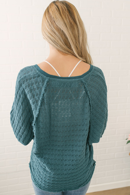 Free People Hacci Open Weave Top - Turquoise