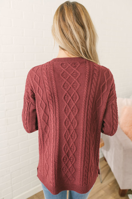 Aspen Highlands Cable Knit Sweater - Burgundy - FINAL SALE