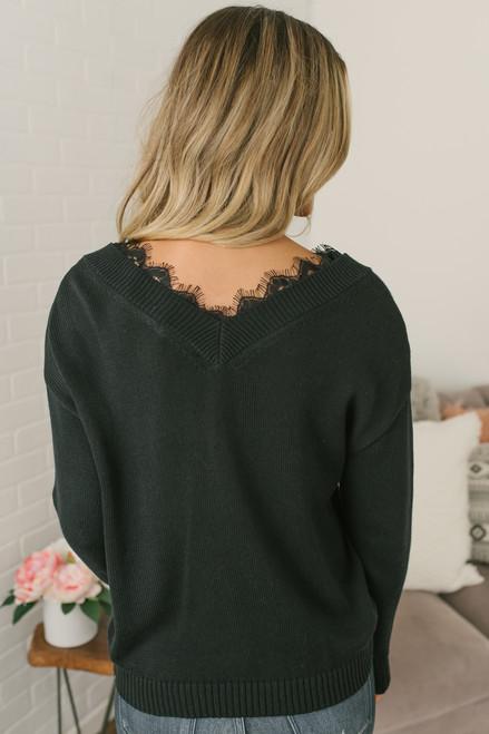 Snow Princess V-Neck Lace Detail Sweater - Black - FINAL SALE