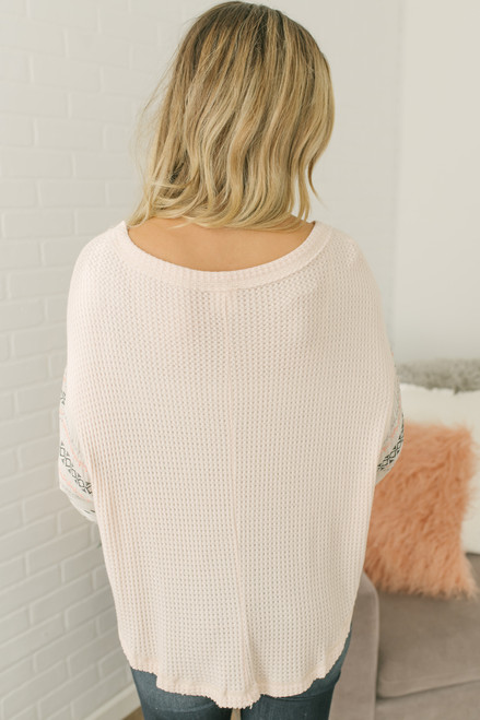 Aztec Embroidered Sleeve Thermal - Peach Ivory - FINAL SALE