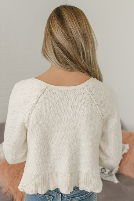 Free People Sweetheart Sweater Henley - Ivory