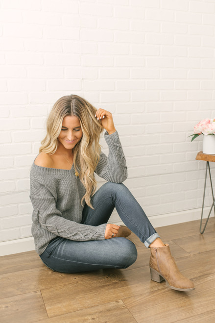Lace Up Sleeve Knit Sweater - Grey - FINAL SALE