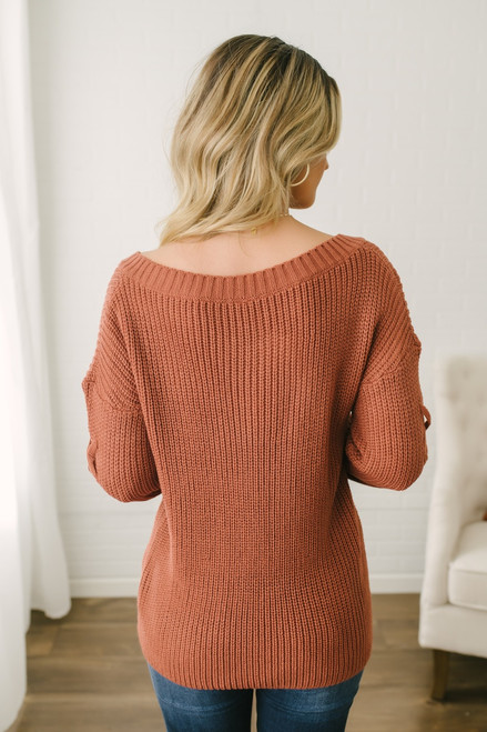 Lace Up Sleeve Knit Sweater - Brick - FINAL SALE