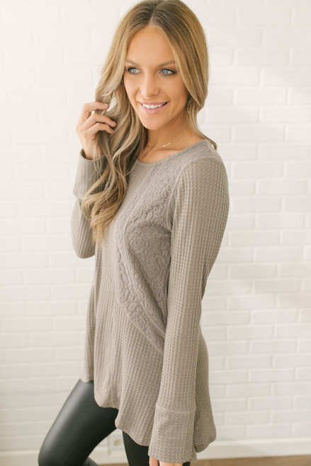 Long Sleeve Knit Top With Lace Contrast - Taupe - FINAL SALE