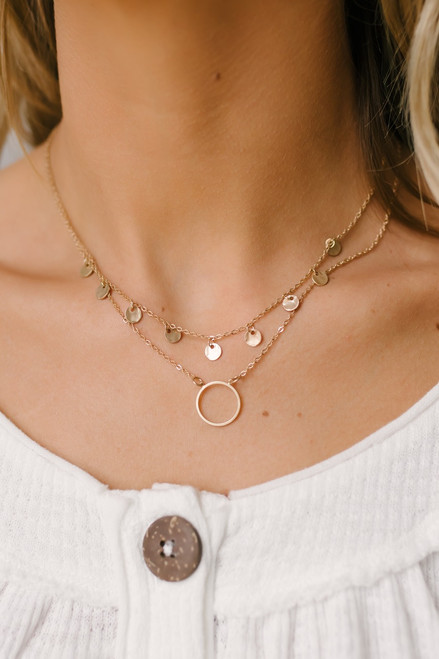 All that Jazz Dotted Layered Necklace Set - Gold