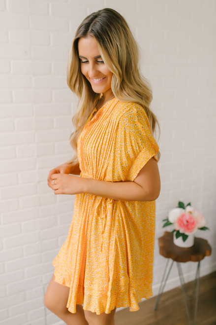 Free People One Fine Day Floral Dress - Marigold