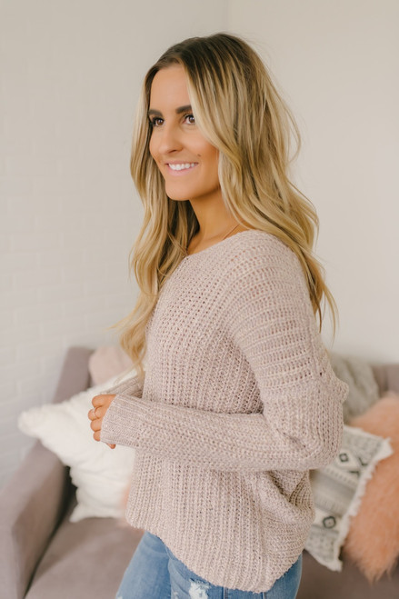 Two Tone Open Knot Back Sweater - Rose
