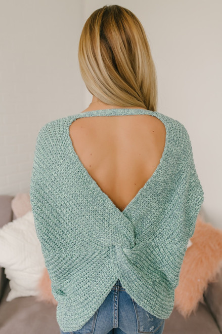 Two Tone Open Knot Back Sweater - Mint - FINAL SALE