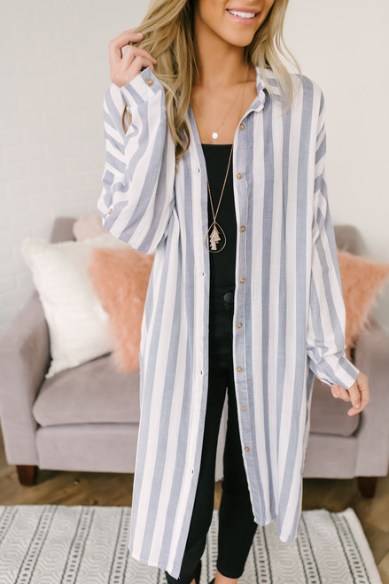 Vertical Stripe Button Down Long Shirt - Blue