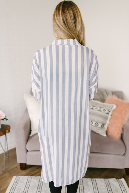 Vertical Stripe Button Down Long Shirt - Blue - FINAL SALE