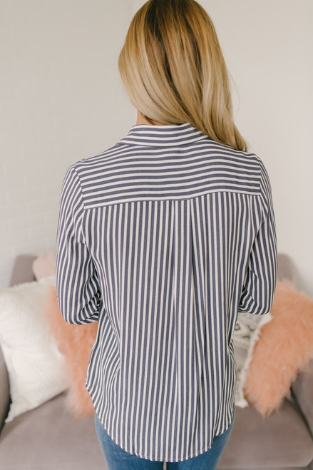 Button Down Vertical Stripe Top - Slate/White - FINAL SALE