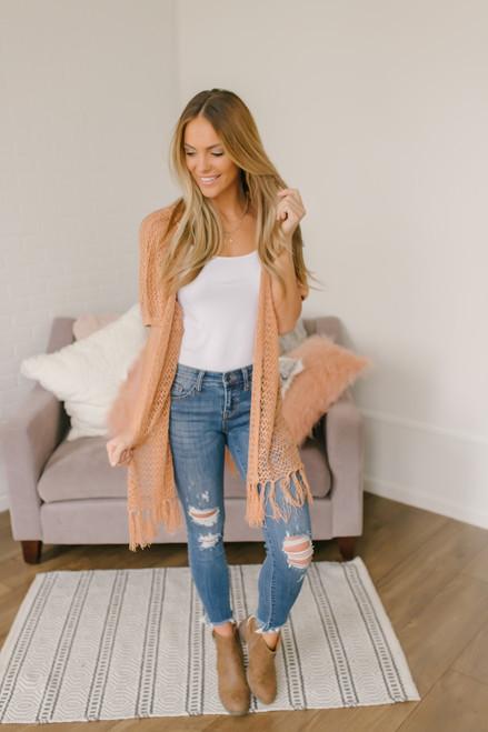 Short Sleeve Crochet Fringe Cardigan - Peach - FINAL SALE