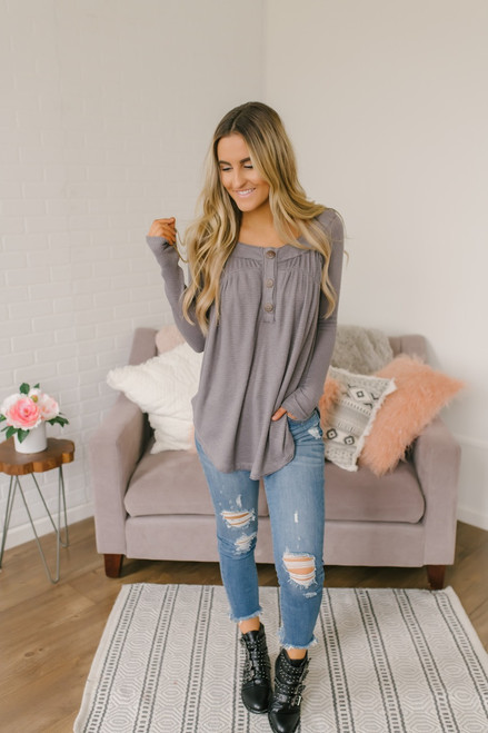 Free People Must Have Henley - Grey