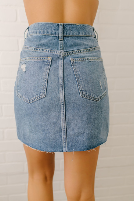 Free People Hallie Skirt - Washed Denim