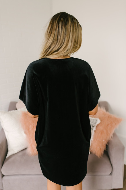 Soho Seeking V-Neck Velvet Tunic Dress - Black - FINAL SALE