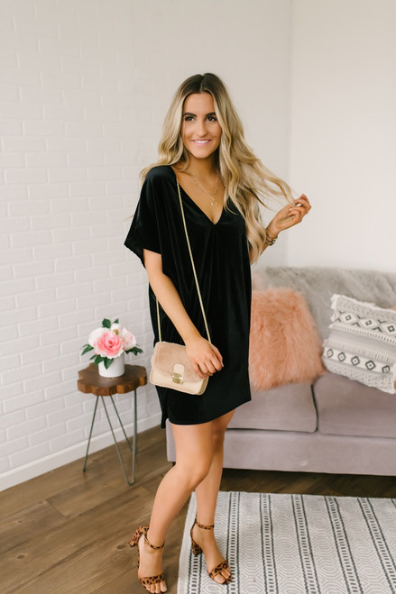 Soho Seeking V-Neck Velvet Tunic Dress - Black - FINAL SALE
