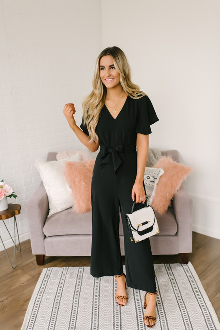 Elegant Short Sleeve Tie Detail Jumpsuit - Black