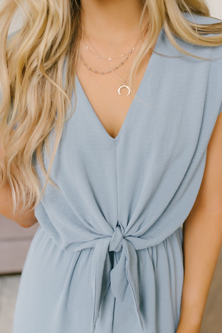 Sky Gazer Short Sleeve Knotted Jumpsuit - Light Blue (EXPECTED EARLY JUNE)