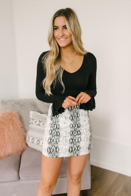 Little Games Snakeskin Twill Skirt - White/Charcoal