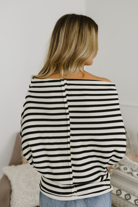 Off the Shoulder Striped Slouchie Top - White/Black
