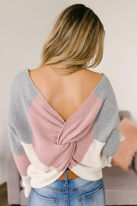 Soulmate Colorblock Knot Back Sweater - Mauve/Grey/Ivory - FINAL SALE