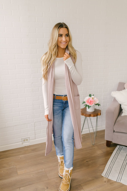 Sleeveless Ribbed Pocket Duster Cardigan - Dusty Lilac - FINAL SALE