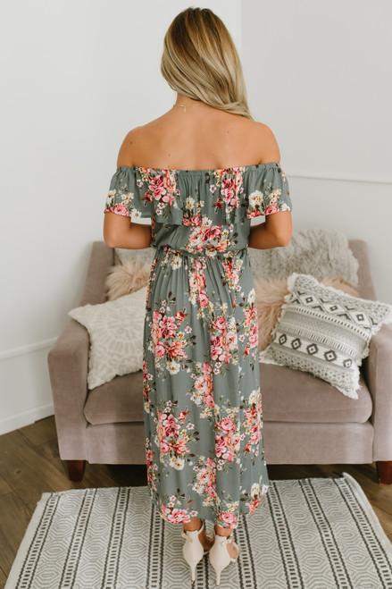 Off the Shoulder Floral Midi Dress - Olive Multi