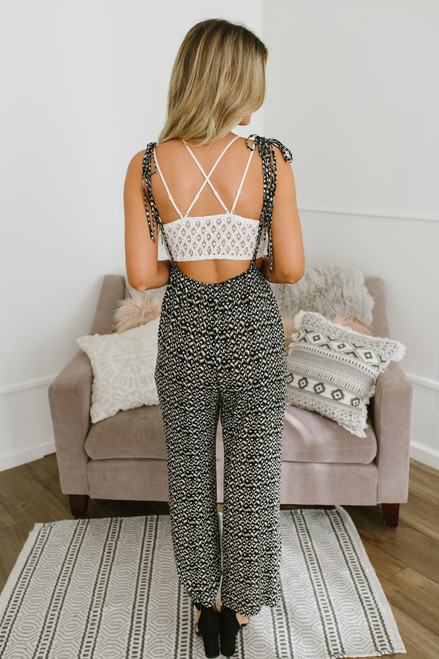 Button Detail Printed Overall Jumpsuit - Black/White - FINAL SALE