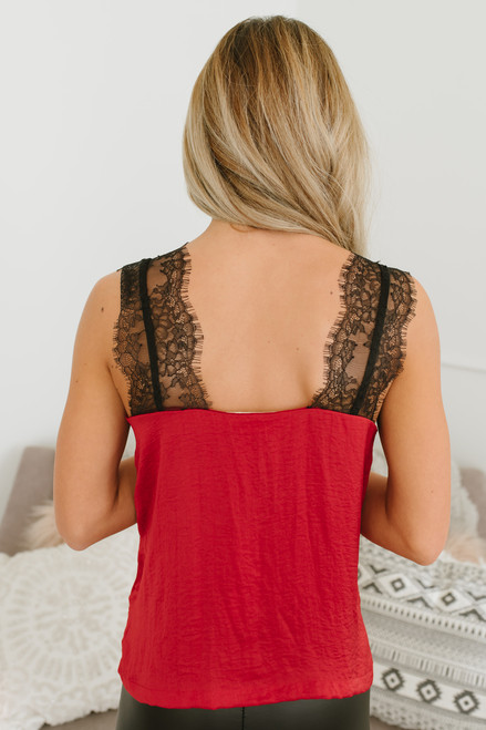 Secret Admirer Lace Top - Red/Black - FINAL SALE