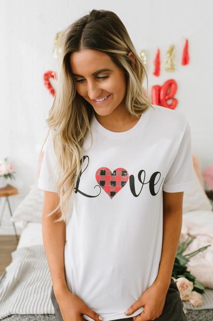 Plaid Heart Love Graphic Tee - White - FINAL SALE