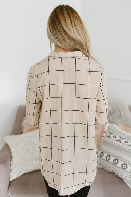 Button Down Grid Knot Top - Taupe/Black - FINAL SALE